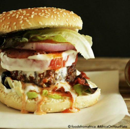 classic beef burger with african hot pepper sauce
